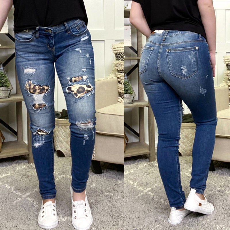 Leopard Patch Mid Rise Judy Blue Jeans