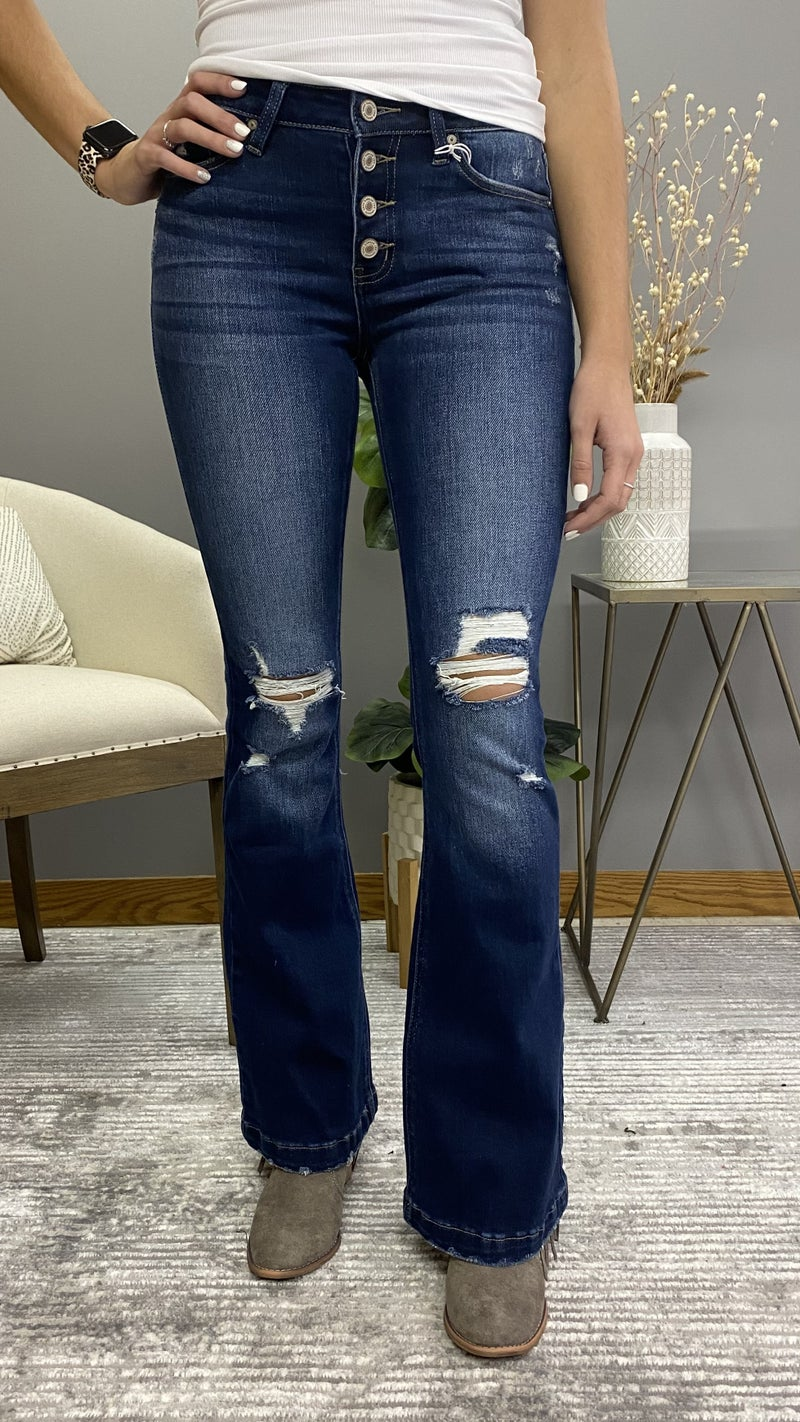 Mid Rise Distressed Flare KanCan Jeans