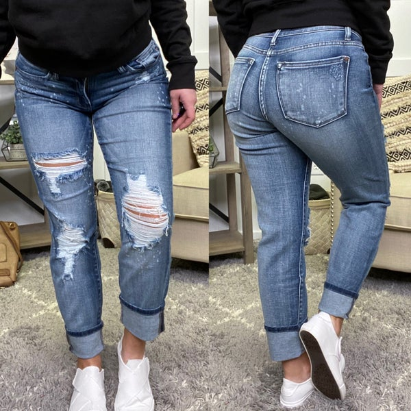 Destroyed Bleach Spatter Boyfriend Judy Blue Jeans
