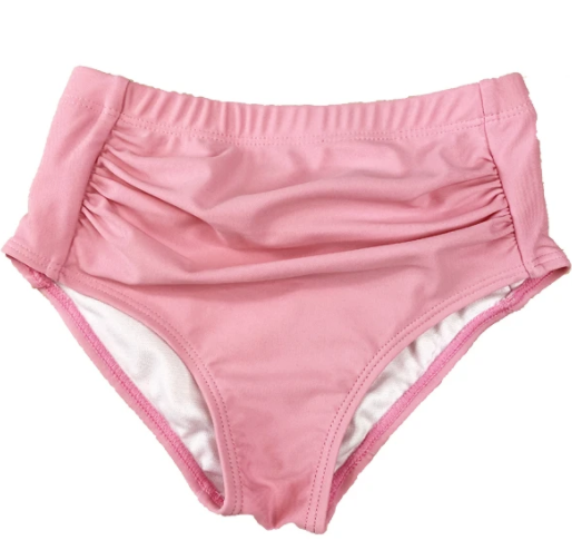 Pink Scrunched Kids Swim Bottoms