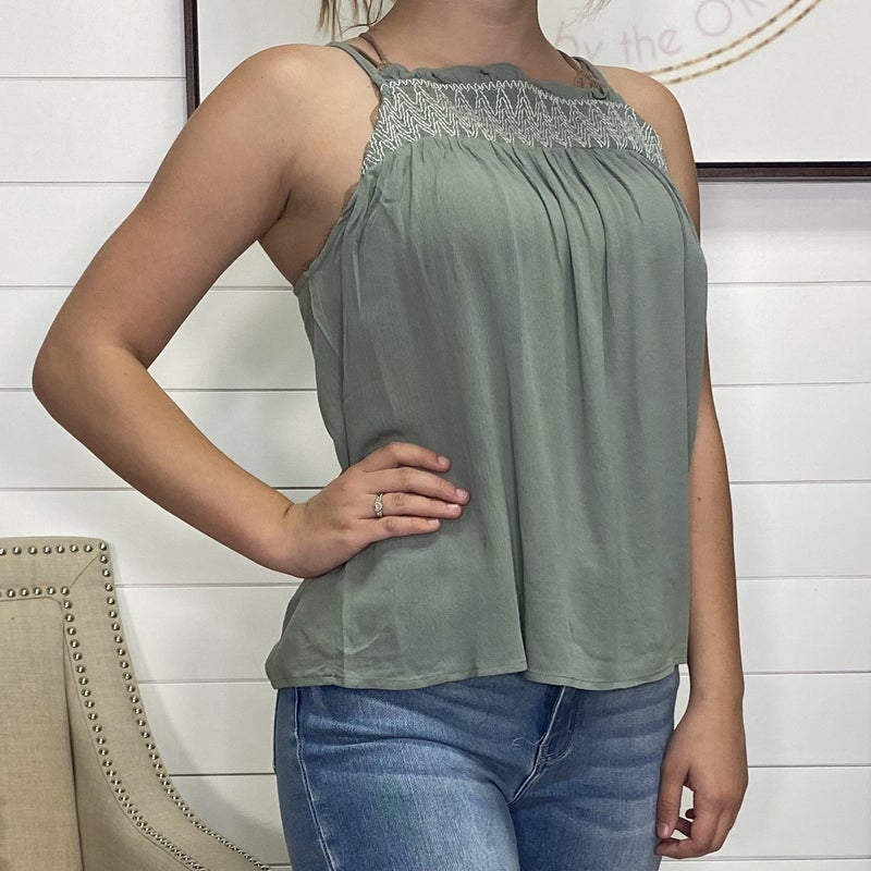 High Neck Embroidered Tank - 2 colors!
