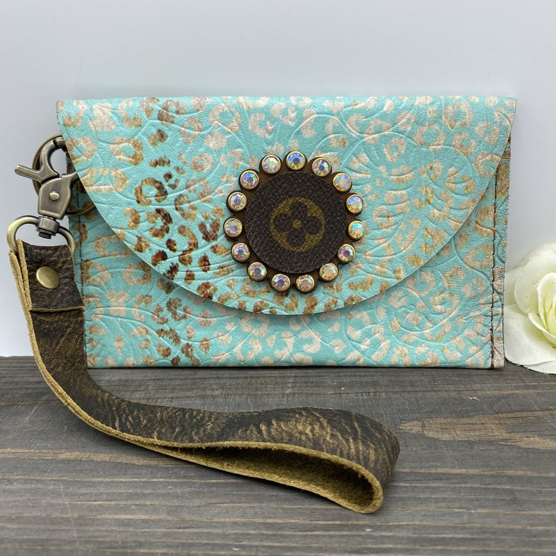 Up-Cycled Designer Light Turquoise Leopard Norma