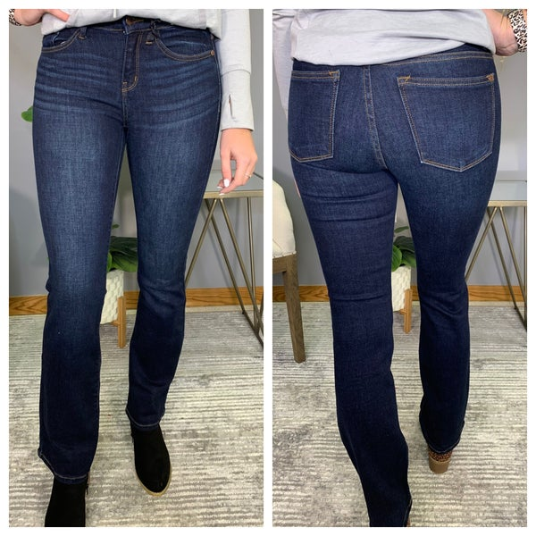 Whiskered Judy Blue Dark Bootcut Jeans