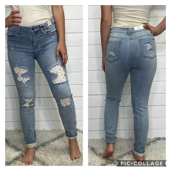 Flower Patch Mid Rise Judy Blue Jeans