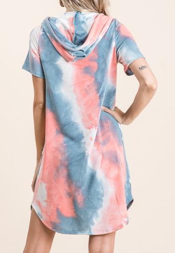 American Tie Dye Hooded Dress