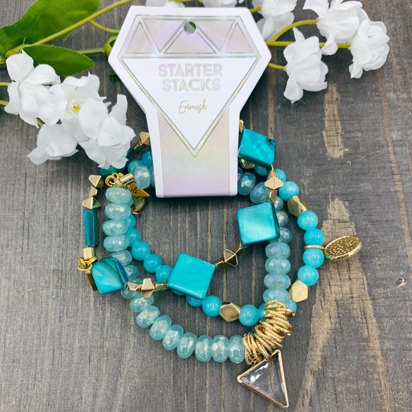 Teal Erimish Stretch Bracelets (Set of 3)