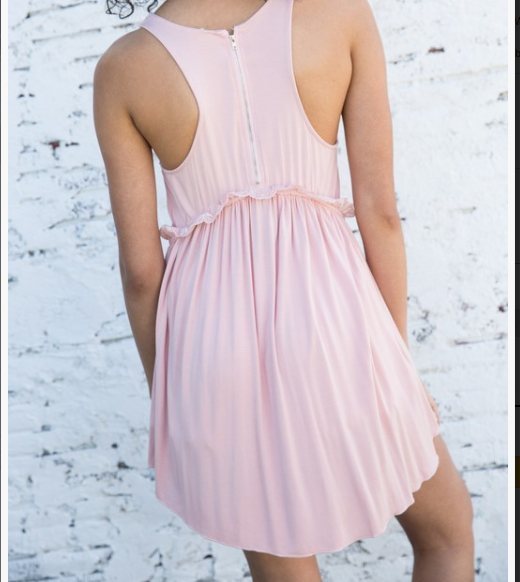Pink Babydoll Lace Detail Tank