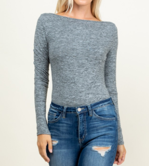 Heather Grey Scoop Back Bodysuit
