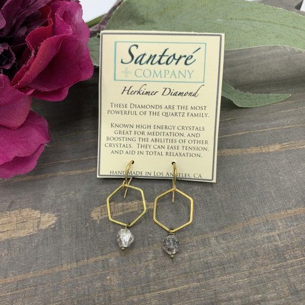 Herkimer Diamond Hexagon Gold Earring
