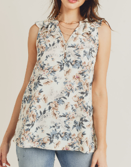 V-Neck Floral Silky Top