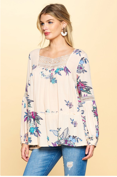 Apricot Floral Tunic Top