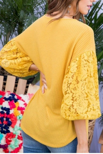 Lock Up Bubble Sleeve Top - 2 colors!
