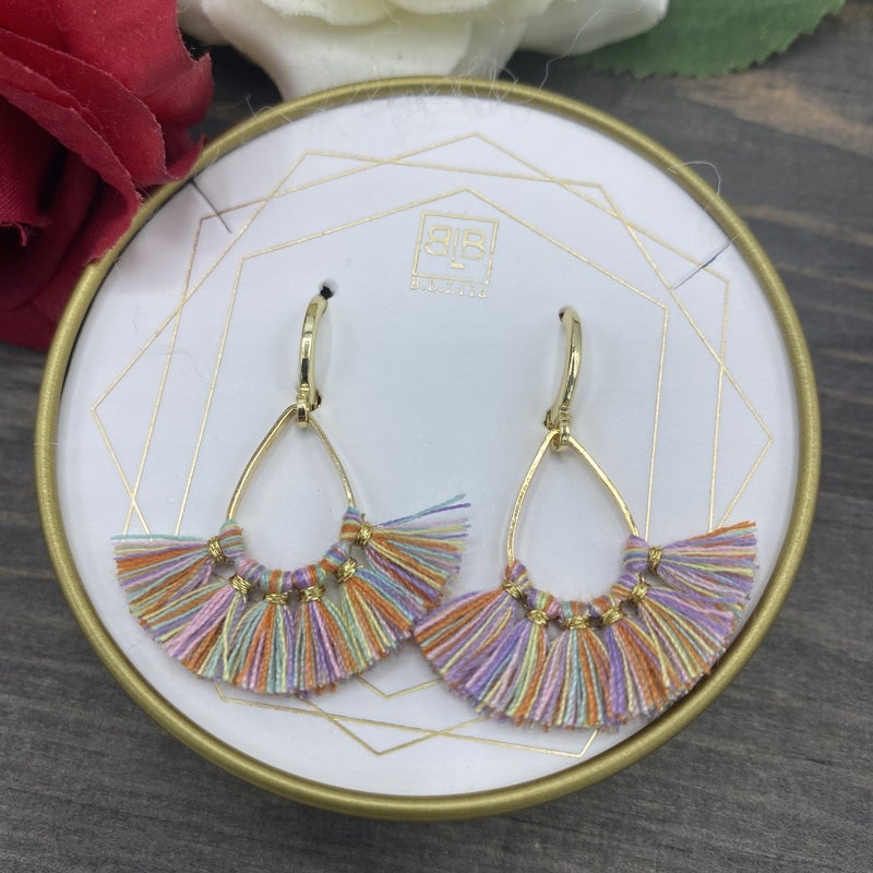 Colorful Tassel Gold Earrings