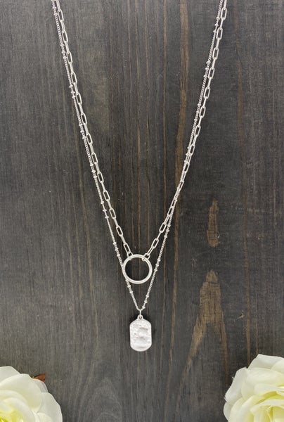 Layered Silver Hammered Charm Neckalce