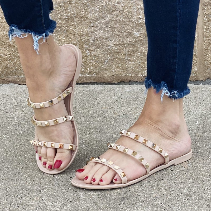 Nude Sandal with Rose Gold Studs
