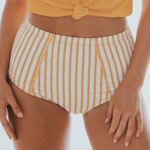 Yellow & White Striped High Waisted Swim Bottoms