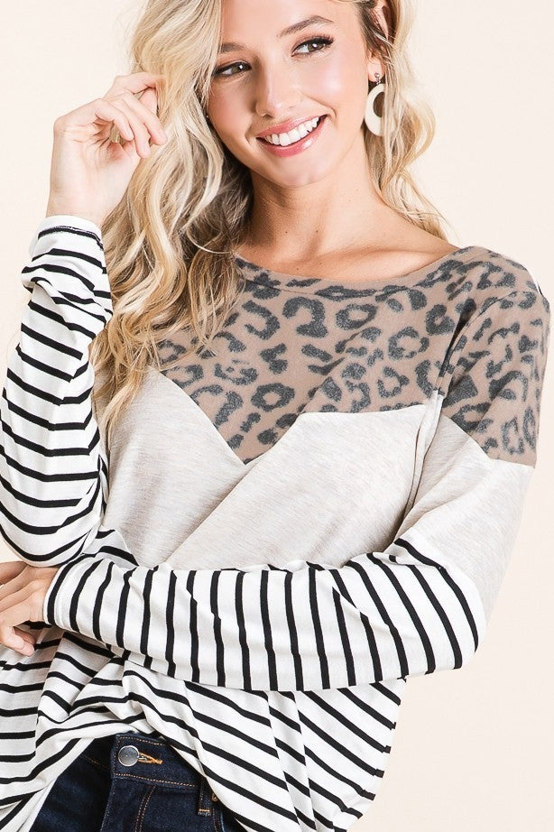 Stripes and Leopard Go Together Top