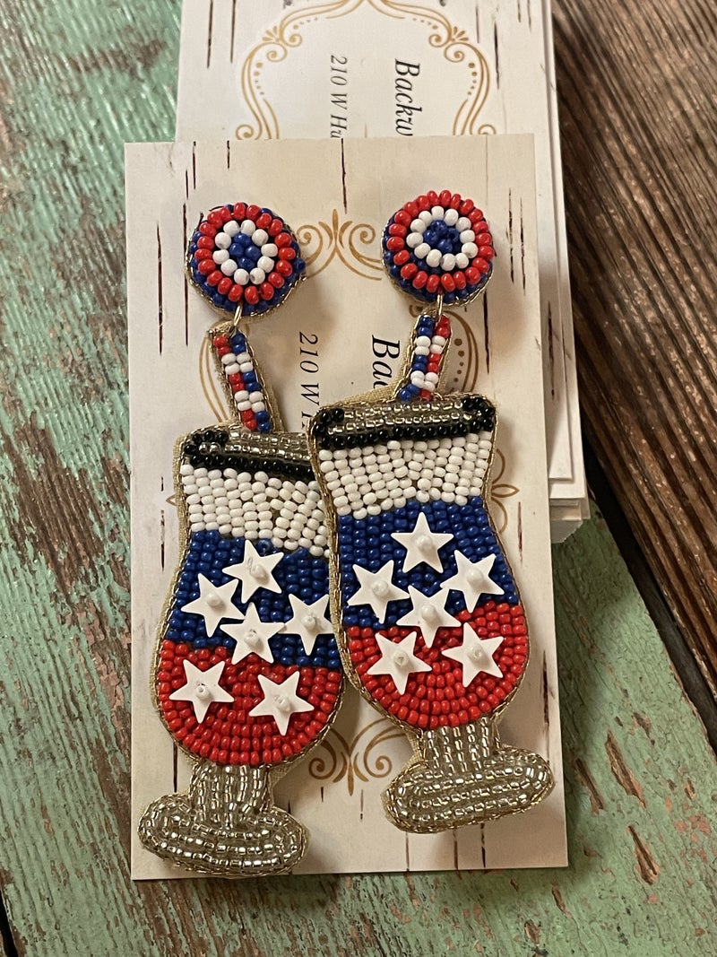 Red , White, and Boozy Earrings
