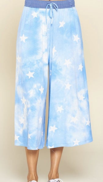 Starry Wide Legged Crop Pants