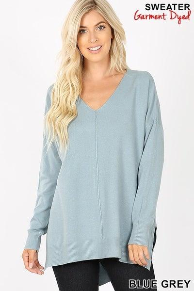 V Neck Center Seam Sweater