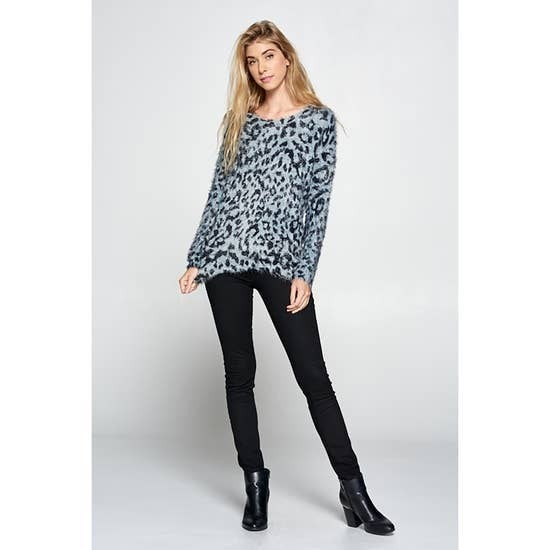 Fuzzy and Fun Leopard Scoop Neck Sweater