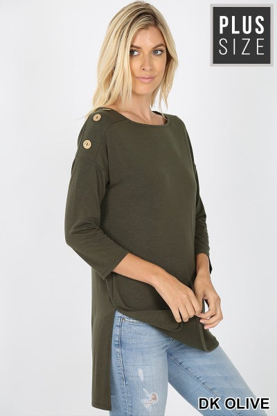 Curvy Girl Boat neck and Buttons Top