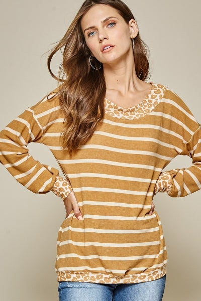 Pre -Order Mustard Animal Print/ Stripe Top