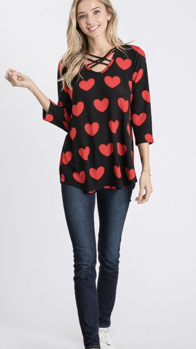 Hearts All Around Top