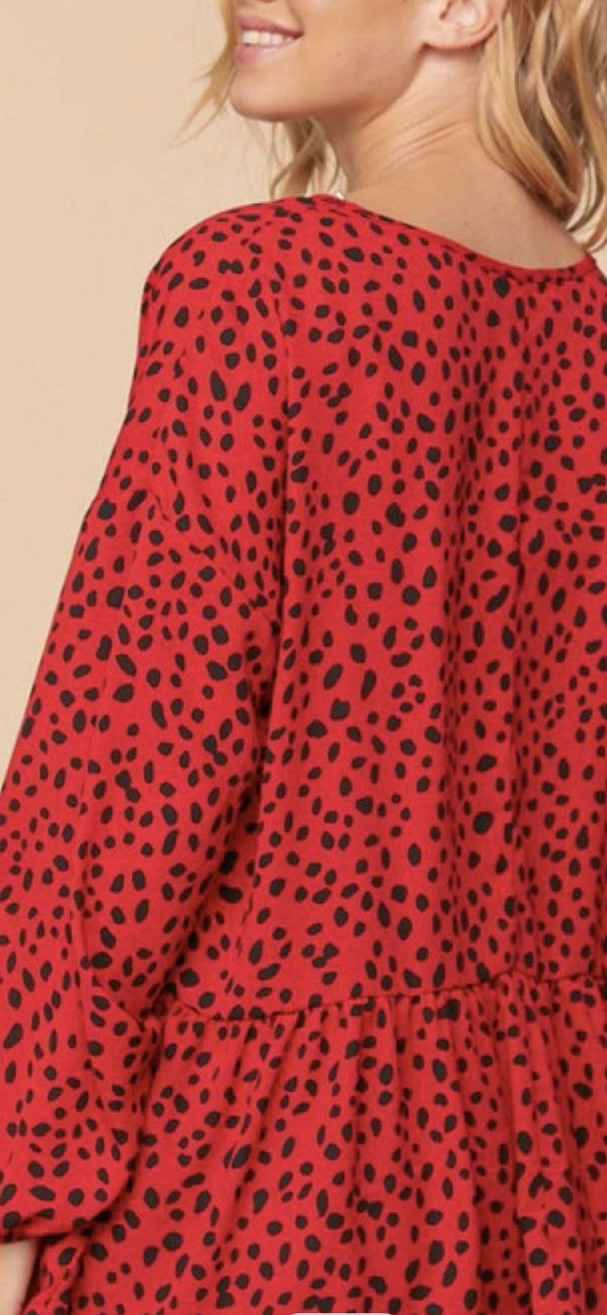 Red Animal Print Baby Doll Top