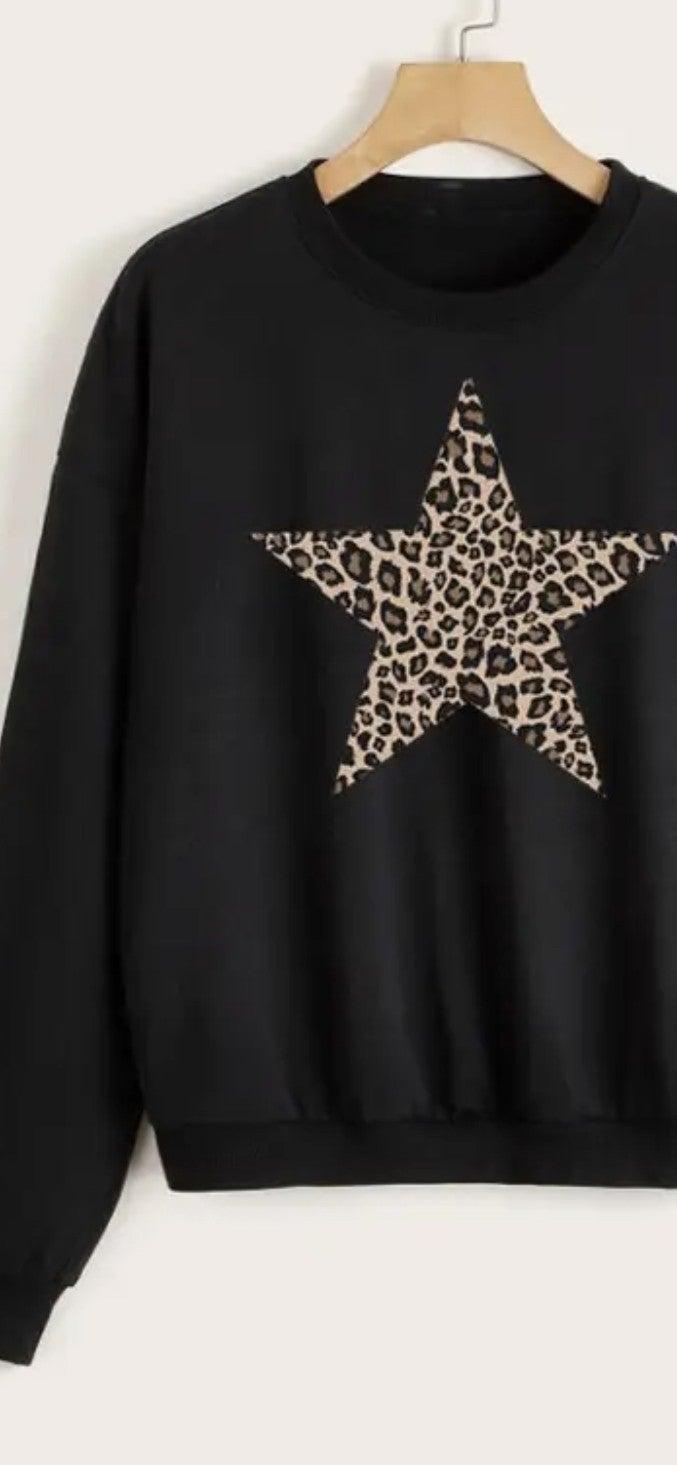 Leopard Star Oversized Sweatshirt