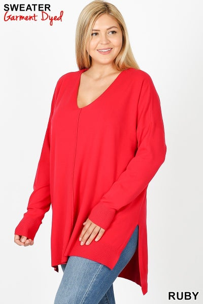 Curvy Girl V Neck Sweater