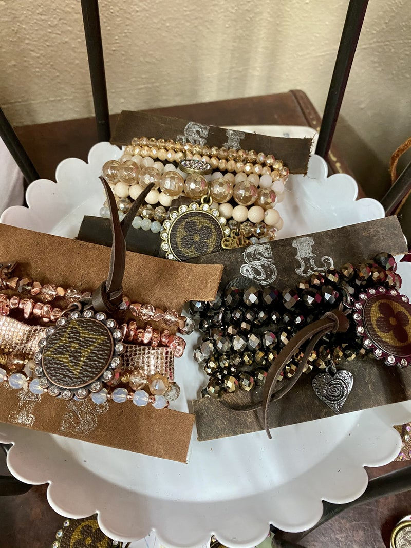 Stacked Upcycled LV Bracelets