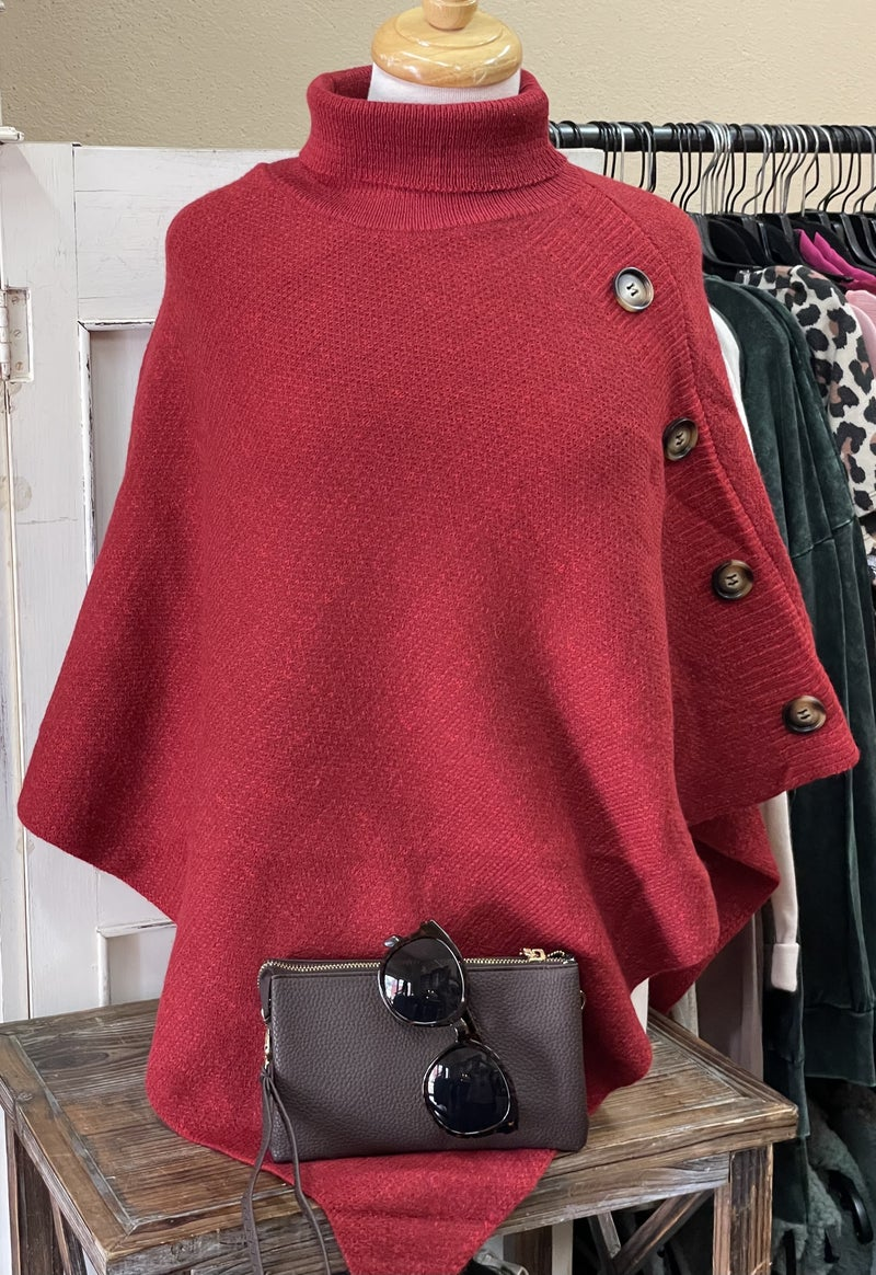 Button Up Sweater Poncho