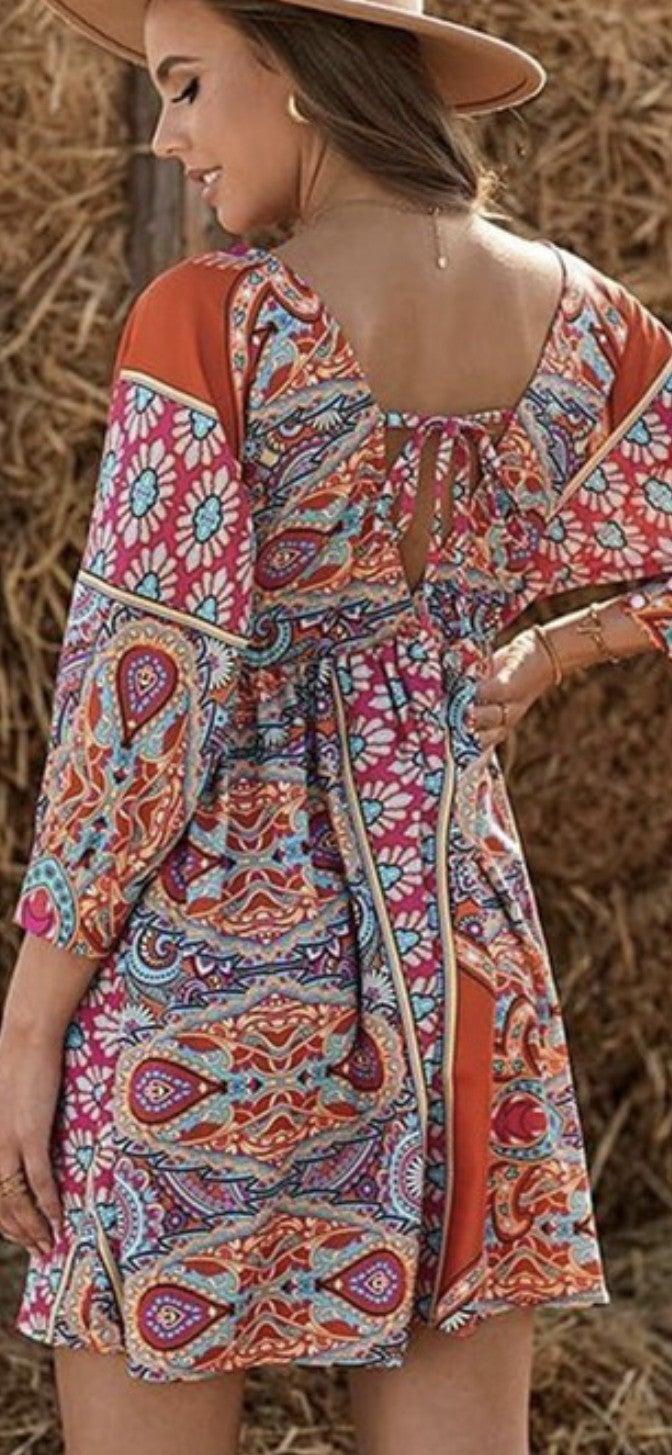Boho Vintage Print Dress