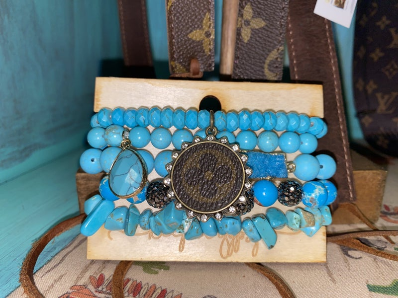 Upcycled LV Turquoise Stack