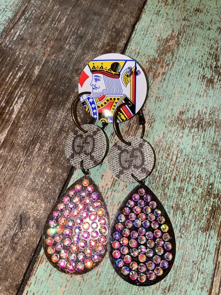 Upcycled Gucci Dangles w/bling