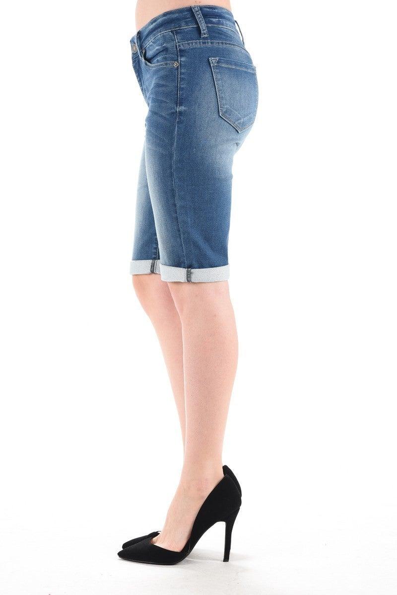 Cuffed Denim Bermuda Shorts