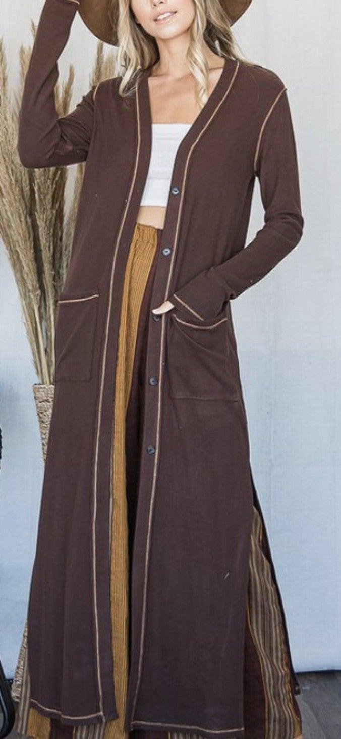 Reverse Stitch Long Cardigan