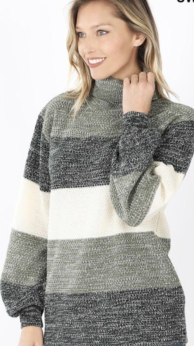Striped Balloon Sleeve Sweater