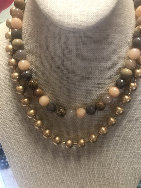 Golden Tones Bead Necklace