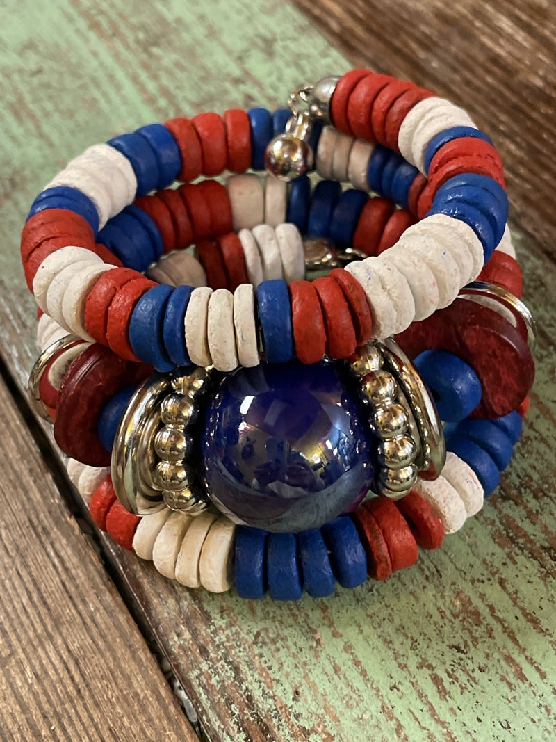 Red, White, and Blue Chunky Bracelet