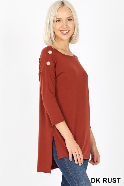 Boat Neck and Buttons Top