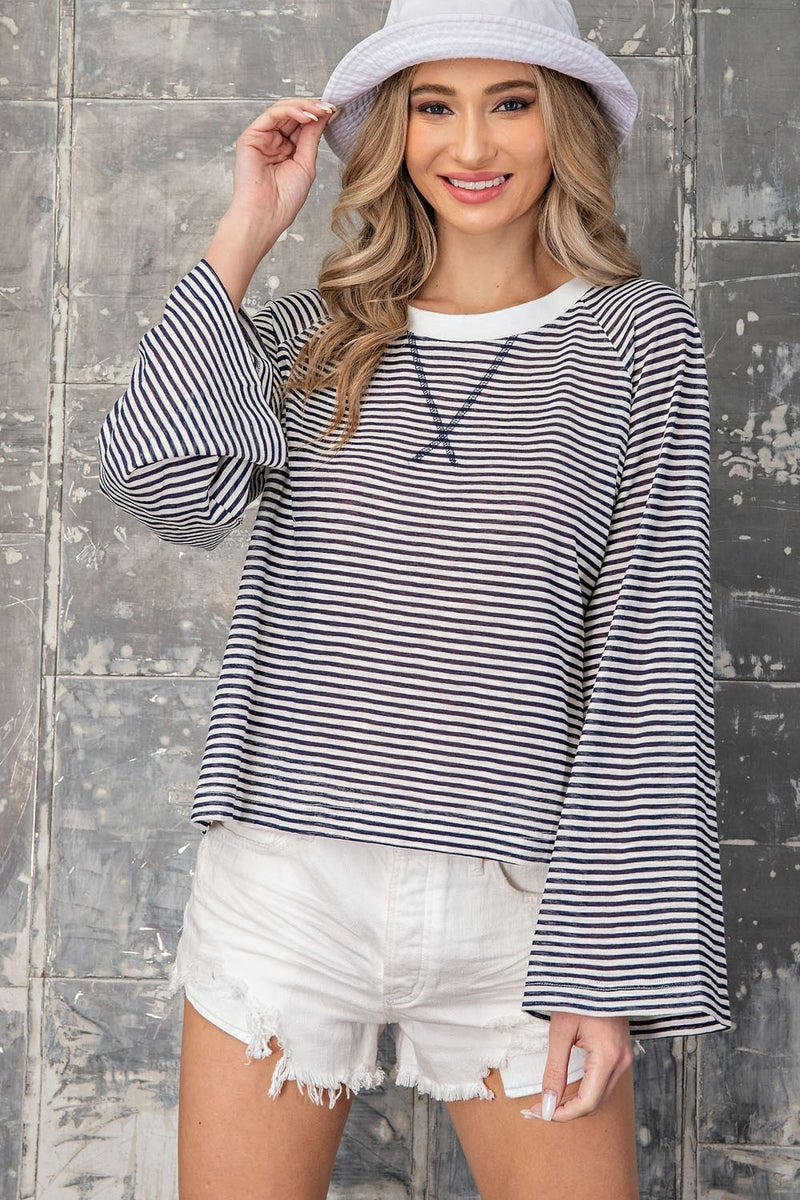 Pinstripe Crew Neck Top