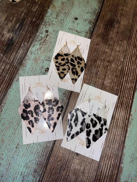 Leopard Triangle Earrings