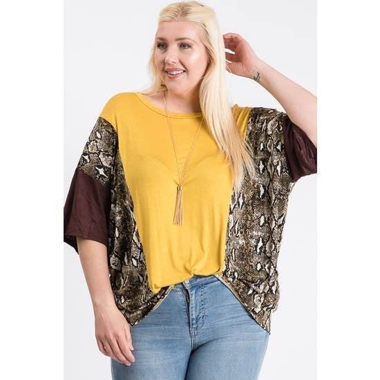 Curvy Girl Mustard Brown Color Block Top