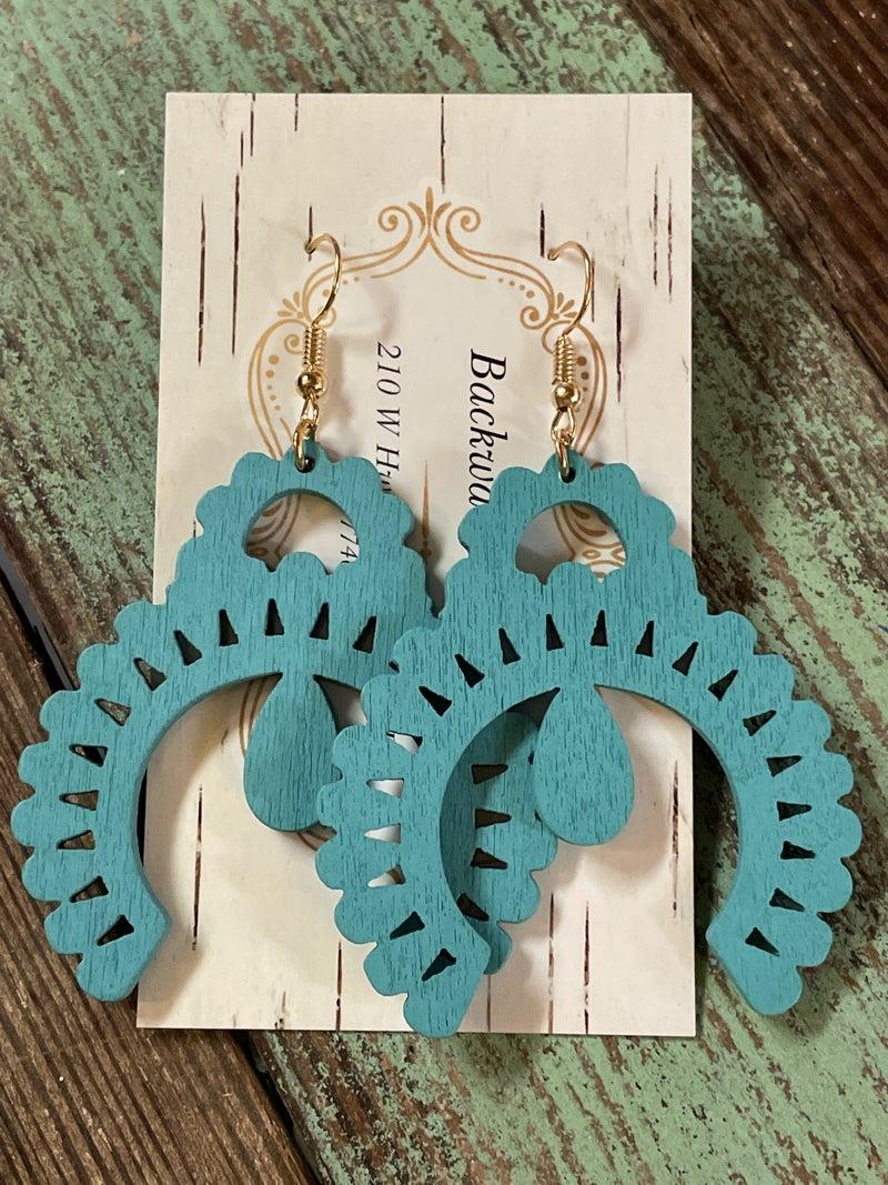 Wooden Squash Blossom Earrings