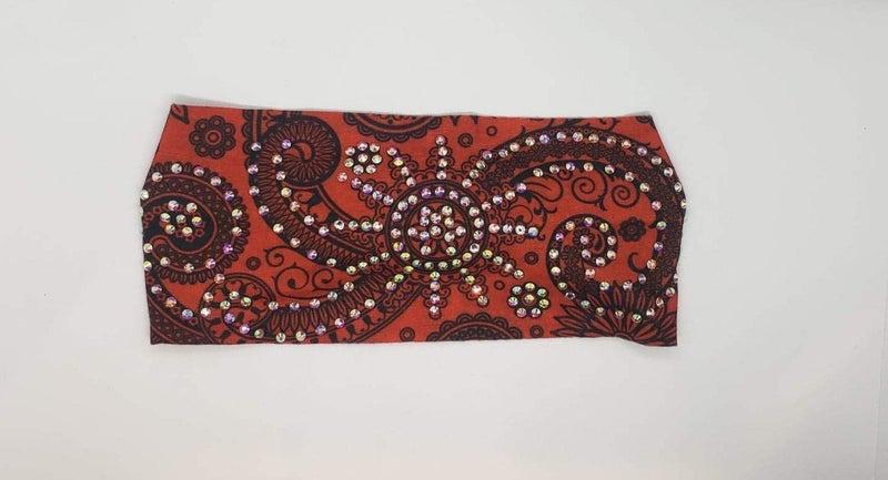Stretchy Black on Red Headband with Aurora Borealis Crystals (Sku5119)