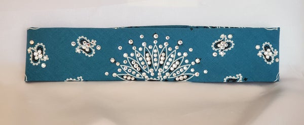 Narrow Teal Paisley with Diamond Clear Swarovski Crystals (Sku2420)