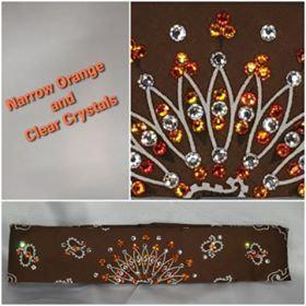 Narrow Brown Paisley with Orange and Diamond Clear Swarovski Crystals (Sku2125)
