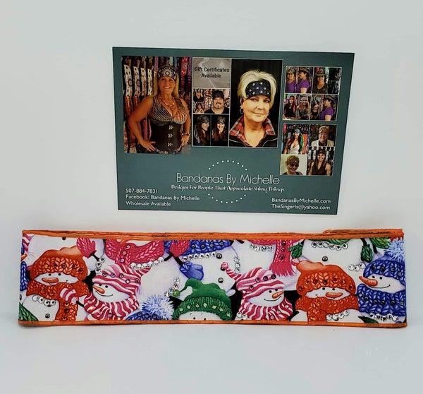 Snowmen Headband Strip with Multi-Colors of Swarovski Crystals (Sku5539)